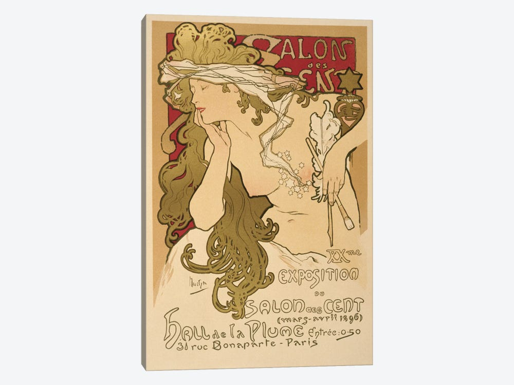 Salon Des Cent: 20th Exposition Vintage Poster by Alphonse Mucha 1-piece Canvas Art Print