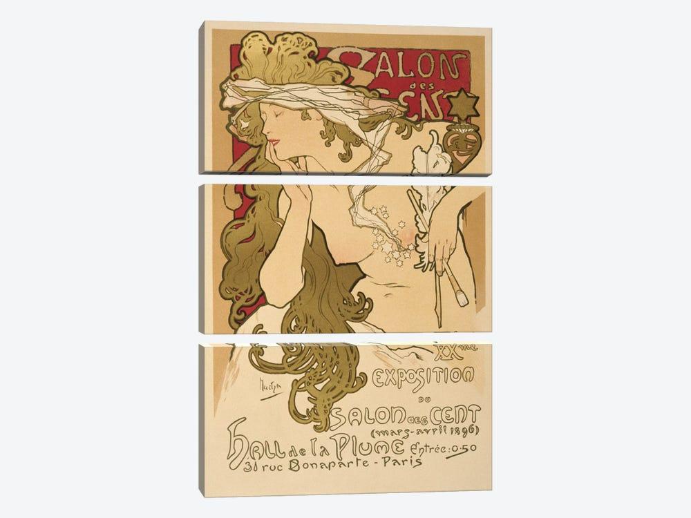 Salon Des Cent: 20th Exposition Vintage Poster by Alphonse Mucha 3-piece Canvas Art Print
