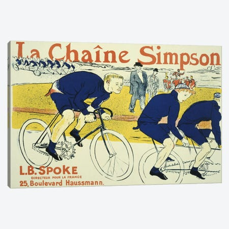 Simpson La Chain Bicycle Advertising Vintage Poster Canvas Print #5006} by Henri de Toulouse-Lautrec Canvas Wall Art