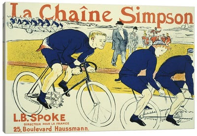 Simpson La Chain Bicycle Advertising Vintage Poster by Henri de Toulouse-Lautrec Canvas Wall Art