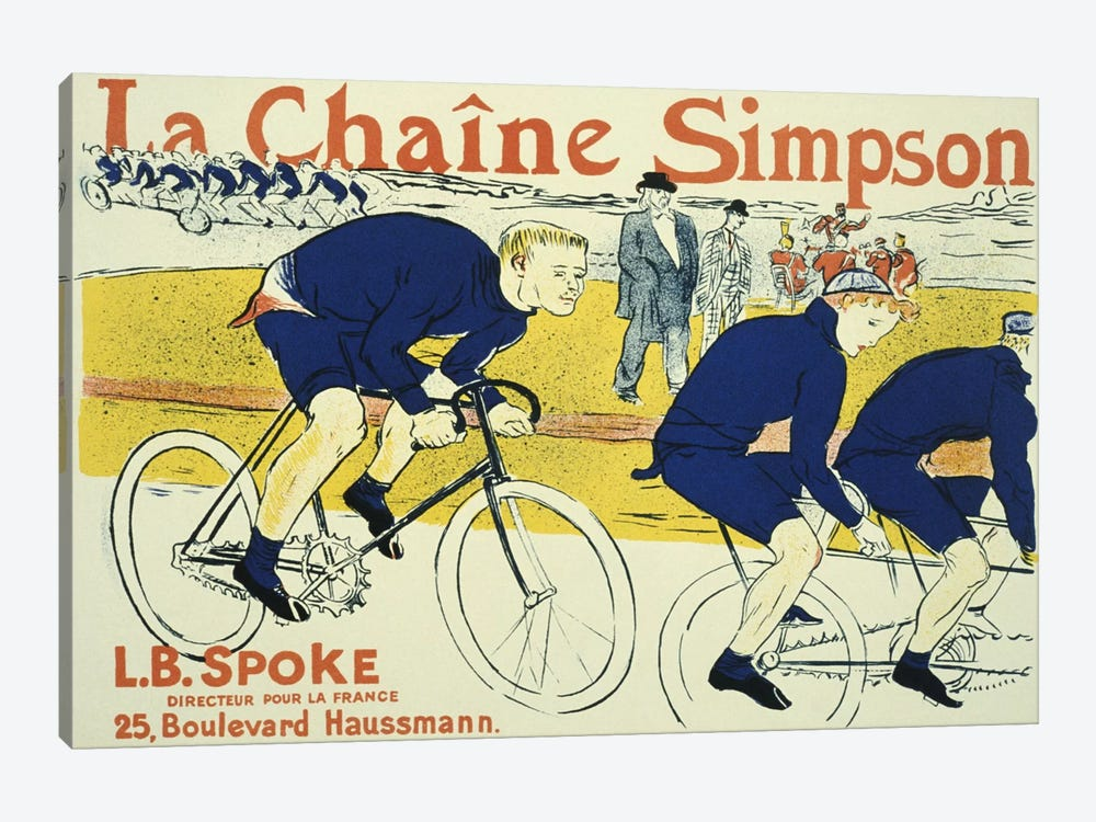 Simpson La Chain Bicycle Advertising Vintage Poster by Henri de Toulouse-Lautrec 1-piece Canvas Art