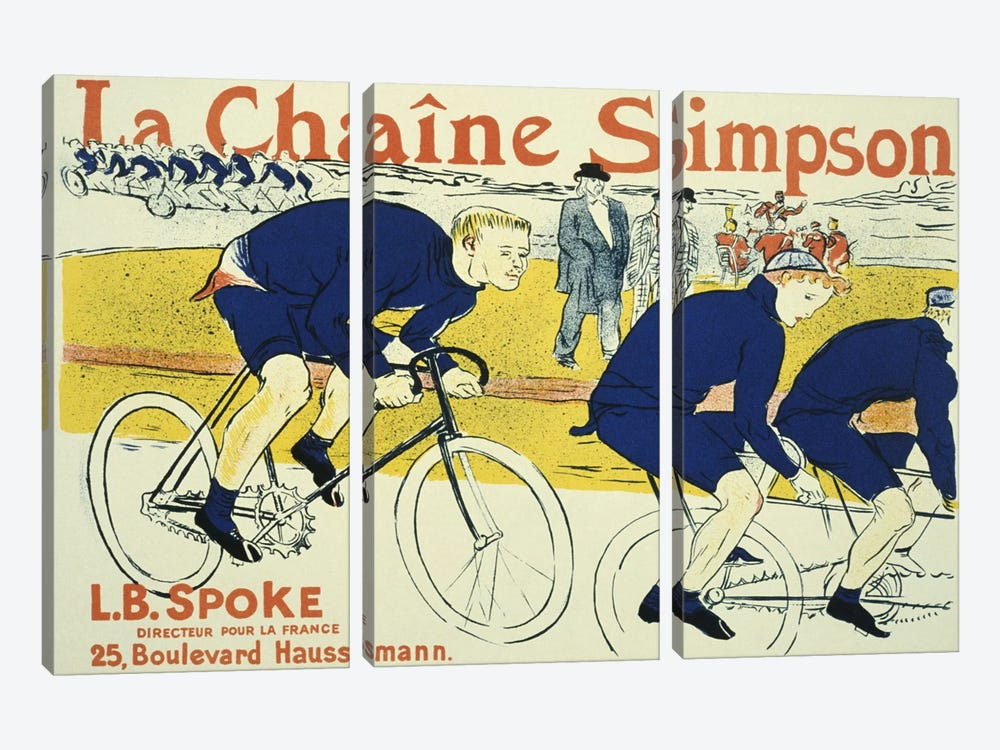 Simpson La Chain Bicycle Advertising Vintage Poster by Henri de Toulouse-Lautrec 3-piece Canvas Artwork