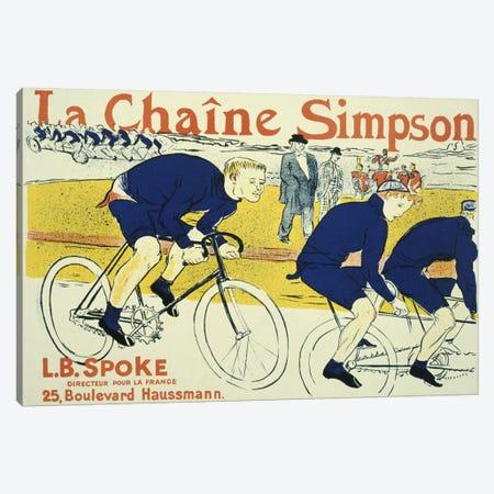 Simpson La Chain Bicycle Advertising Vintage Poster 3-Piece Canvas #5006} by Henri de Toulouse-Lautrec Canvas Wall Art