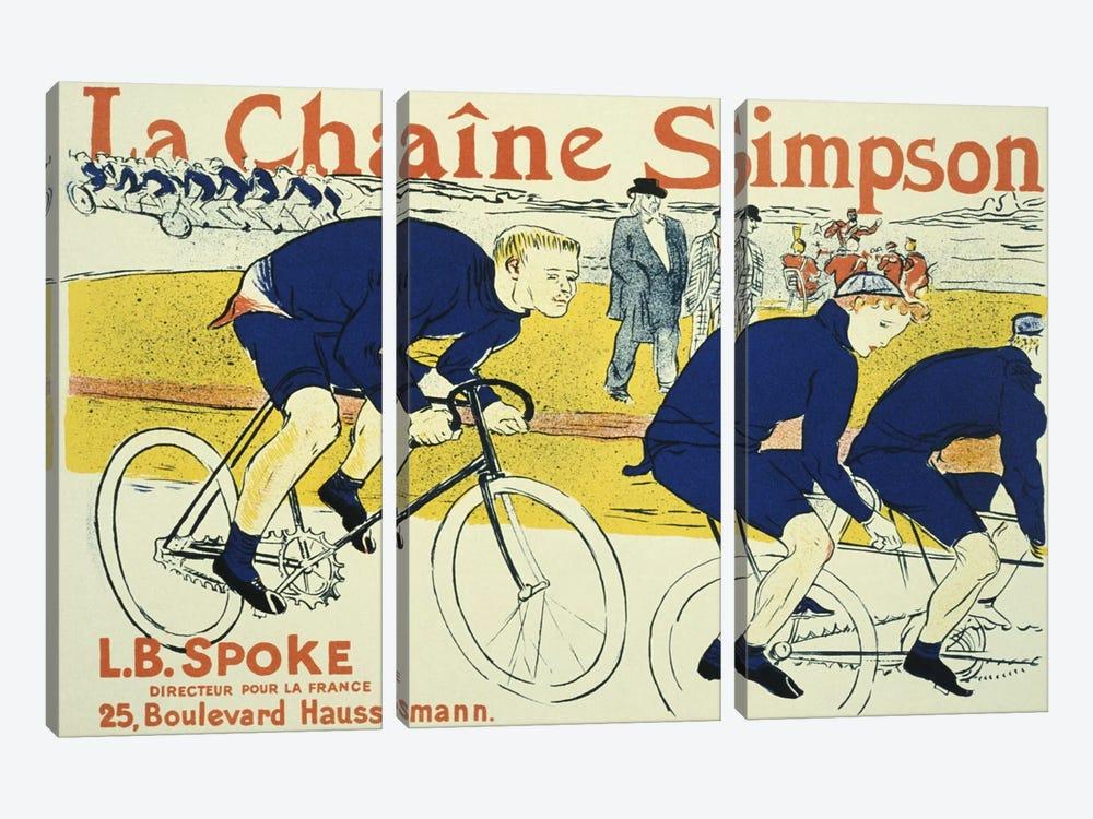 Simpson La Chain Bicycle Advertising Vintage Poster by Henri de Toulouse-Lautrec 3-piece Canvas Artwork