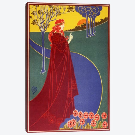Woman In Red Cloak on a Road Vintage Poster Canvas Print #5016} by Unknown Artist Canvas Art Print