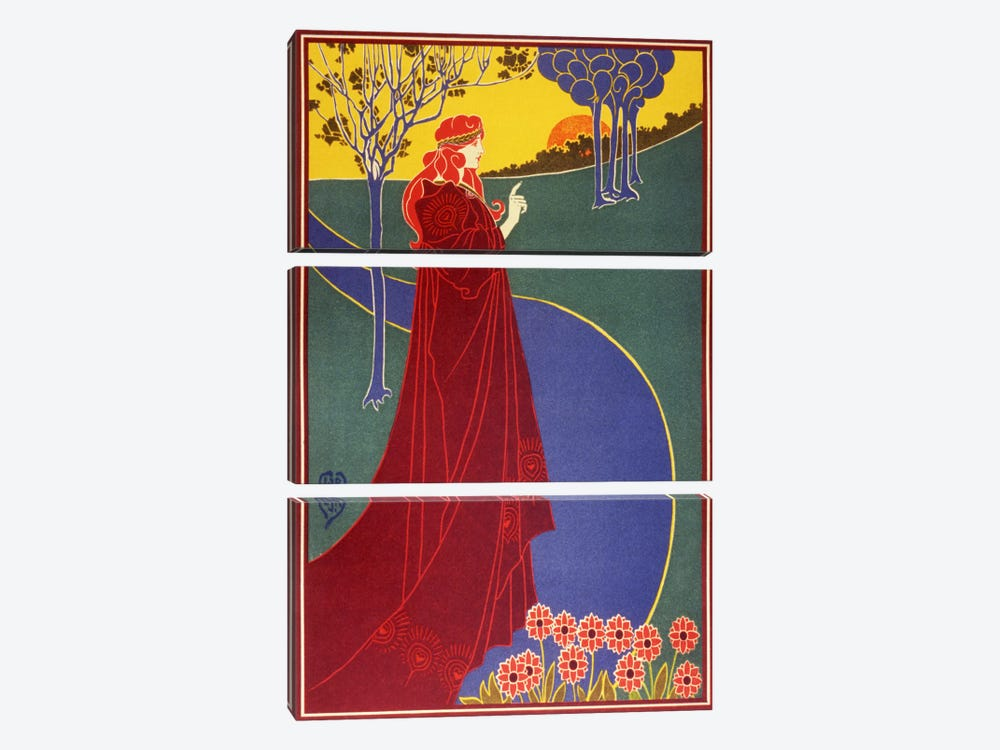Woman In Red Cloak on a Road Vintage Poster 3-piece Canvas Print