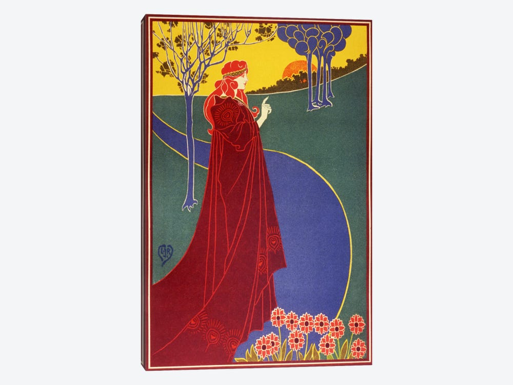 Woman In Red Cloak on a Road Vintage Poster by Unknown Artist 1-piece Canvas Print