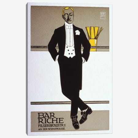 Bar Riche Vintage Poster Canvas Print #5017} by Hans Rudi Erdt Canvas Print
