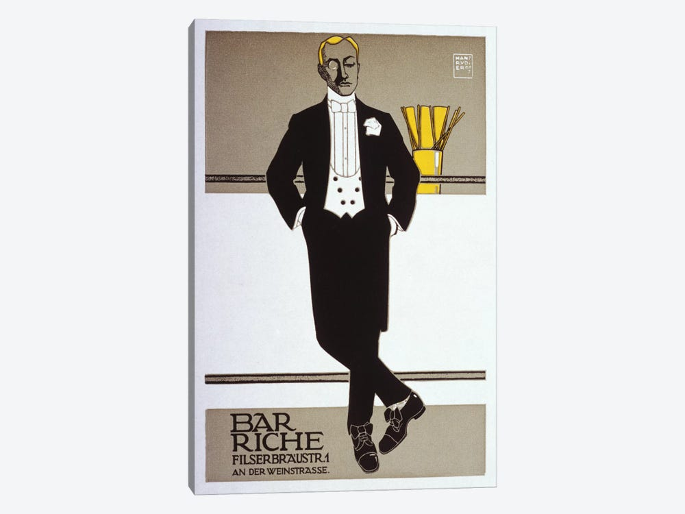 Bar Riche Vintage Poster by Hans Rudi Erdt 1-piece Canvas Wall Art