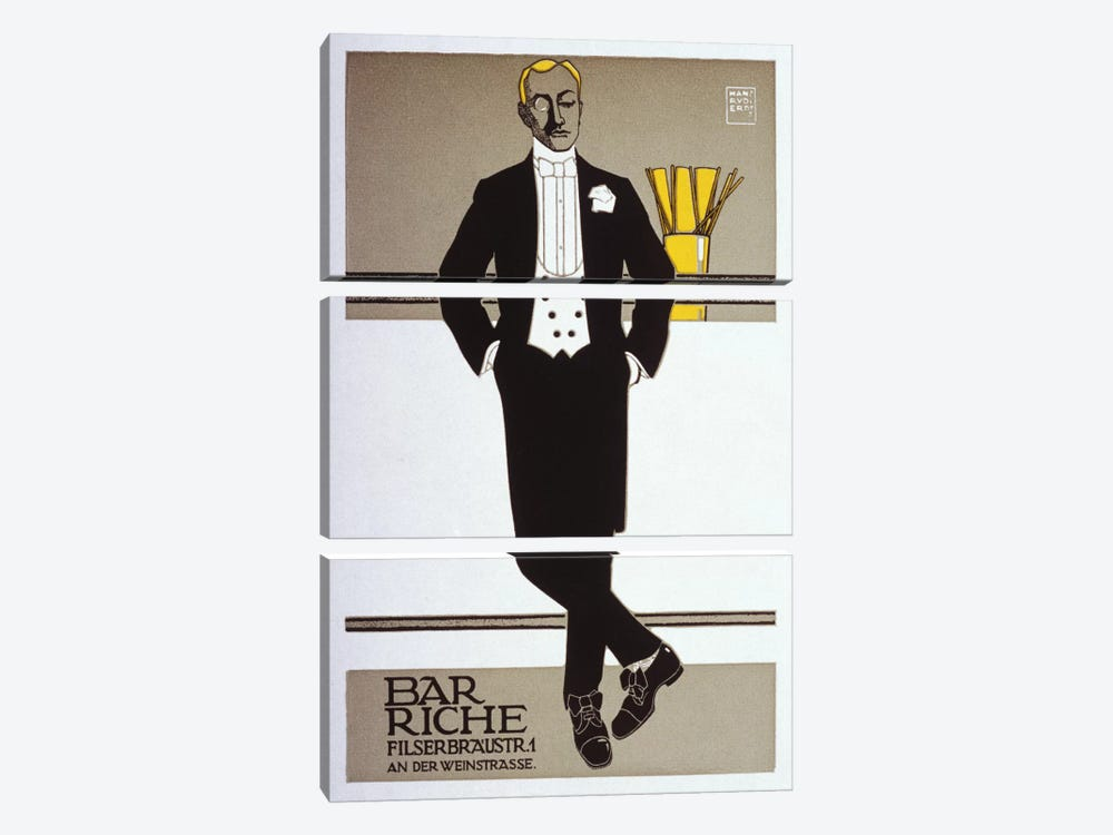 Bar Riche Vintage Poster by Hans Rudi Erdt 3-piece Canvas Artwork