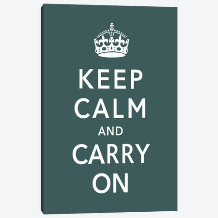 Keep Calm & Carry on (green) Canvas Print #5021} by Unknown Artist Canvas Art Print