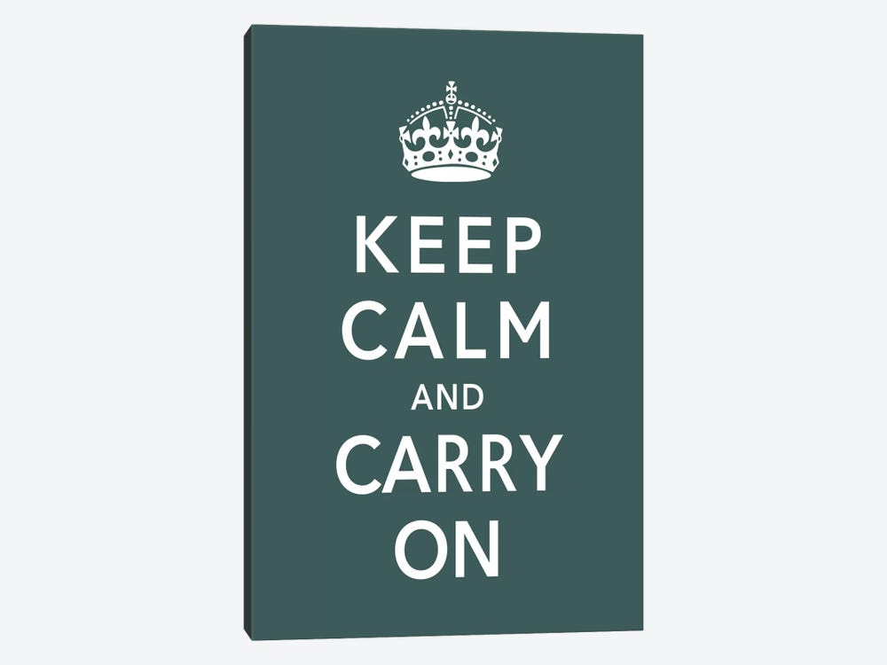 Keep Calm & Carry on (green) by Unknown Artist 1-piece Canvas Print