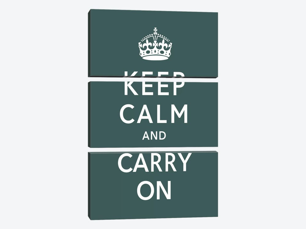 Keep Calm & Carry on (green) by Unknown Artist 3-piece Art Print