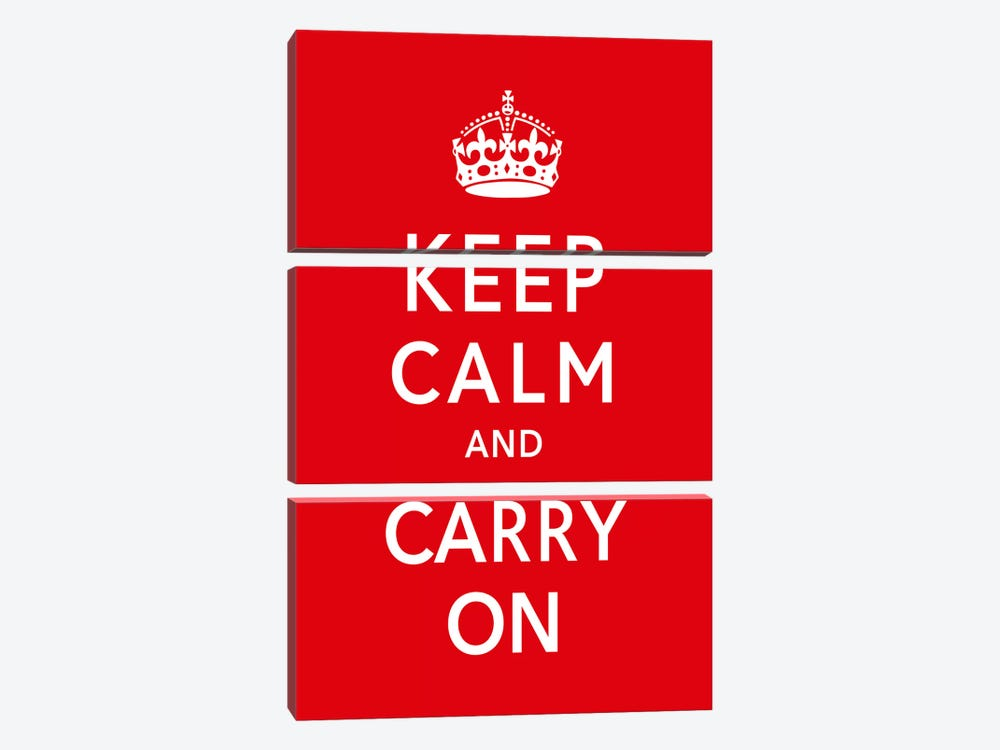 Keep Calm & Carry on by Unknown Artist 3-piece Canvas Artwork