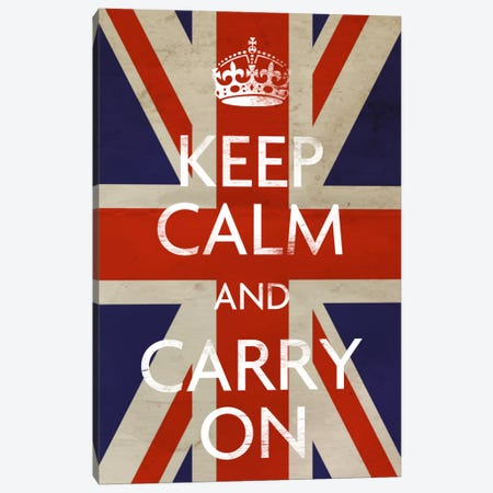 Keep Calm & Carry on (British Flag) Canvas Print #5023} Canvas Print