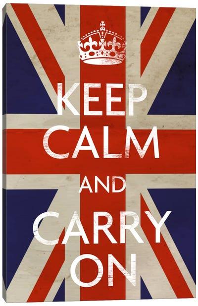 Keep Calm & Carry on (British Flag) Canvas Print #5023