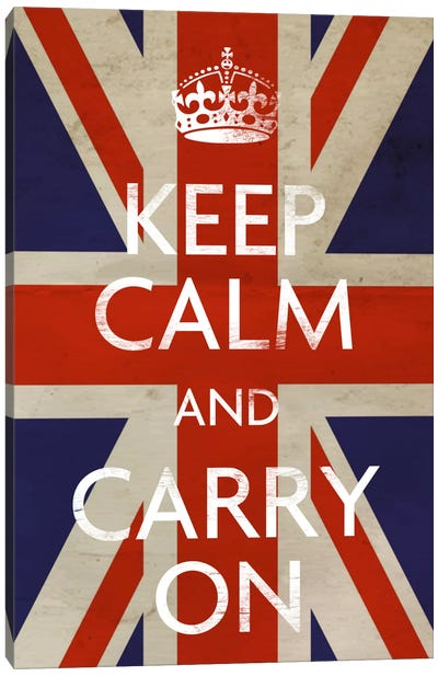 Keep Calm & Carry on (British Flag) Canvas Art Print