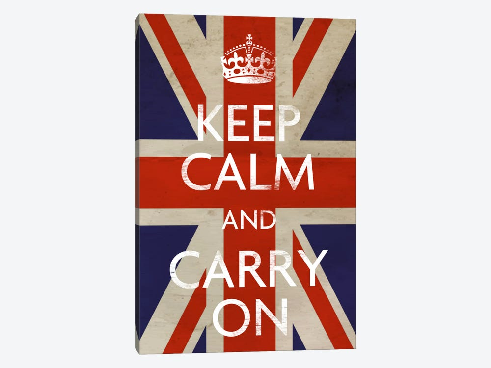 Keep Calm & Carry on (British Flag) by Unknown Artist 1-piece Canvas Art Print