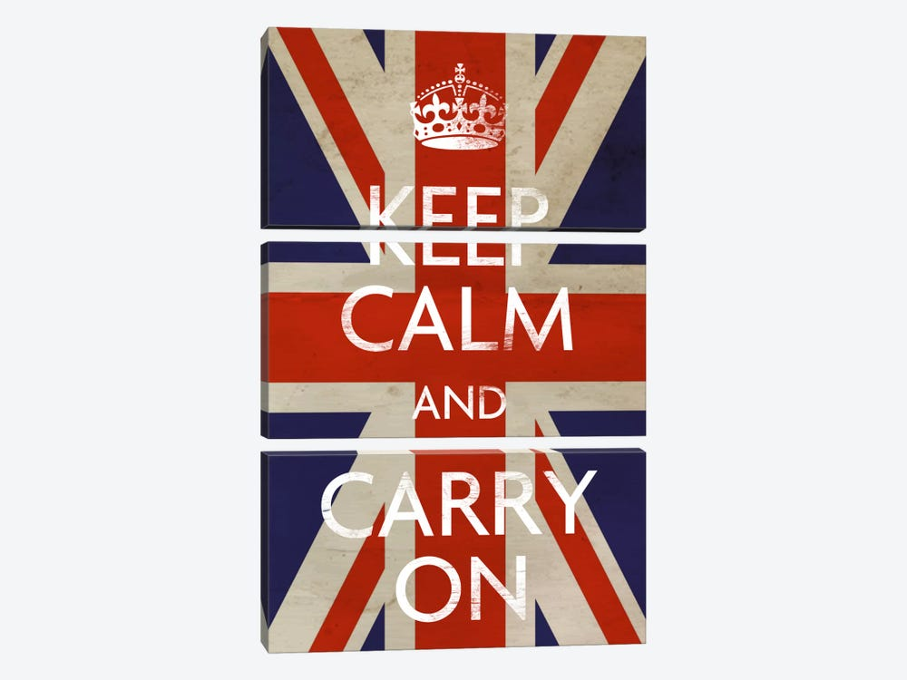 Keep Calm & Carry on (British Flag) by Unknown Artist 3-piece Canvas Print