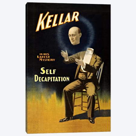 Kellar: Self Decapitation Vintage Magic Poster Canvas Print #5028} by Unknown Artist Art Print