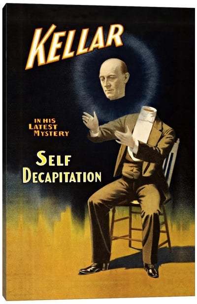 Kellar: Self Decapitation Vintage Magic Poster Canvas Art Print