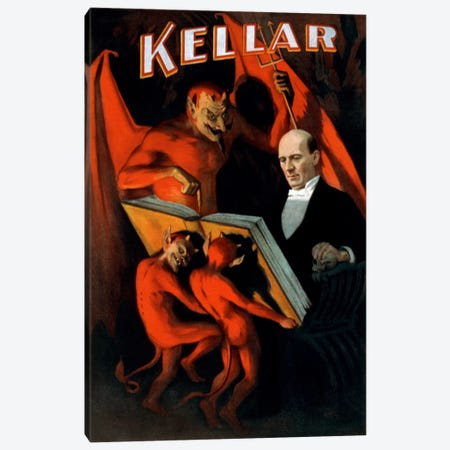 Kellar: Book of The Damned Vintage Magic Poster Canvas Print #5029} by Unknown Artist Canvas Print