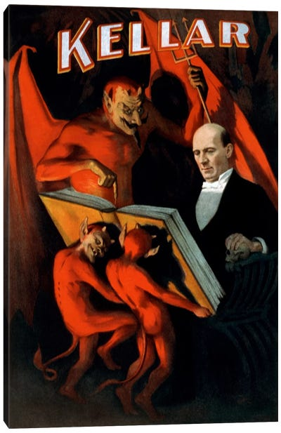 Kellar: Book of The Damned Vintage Magic Poster Canvas Art Print
