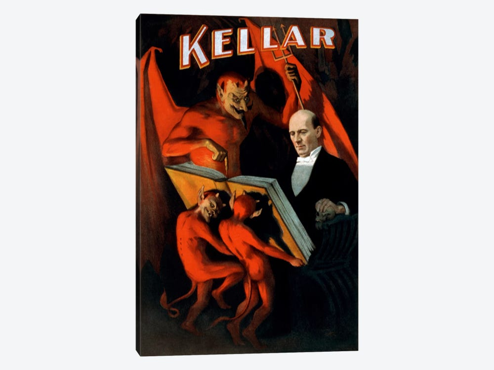 Kellar: Book of The Damned Vintage Magic Poster by Unknown Artist 1-piece Canvas Print
