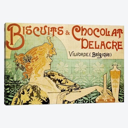 Delacre Biscuits & Chocolat Vintage Poster Canvas Print #5032} by Henri Privat-Livemont Canvas Wall Art
