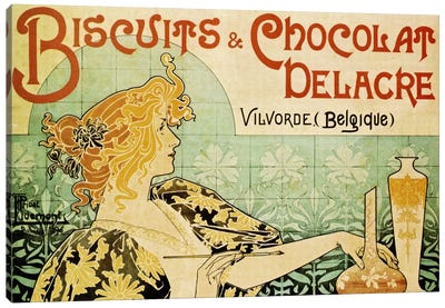 Delacre Biscuits & Chocolat Vintage Poster Canvas Art Print