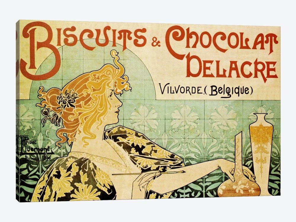 Delacre Biscuits & Chocolat Vintage Poster by Henri Privat-Livemont 1-piece Canvas Art Print