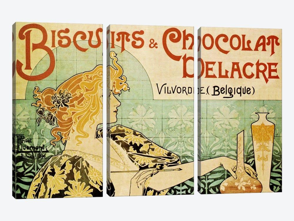 Delacre Biscuits & Chocolat Vintage Poster by Henri Privat-Livemont 3-piece Canvas Print