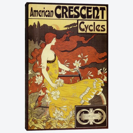 American Crescent Bicycles Vintage Poster Canvas Print #5033} by Fred Ramsdell Canvas Wall Art