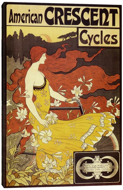 American Crescent Bicycles Vintage Poster Canvas Art Print