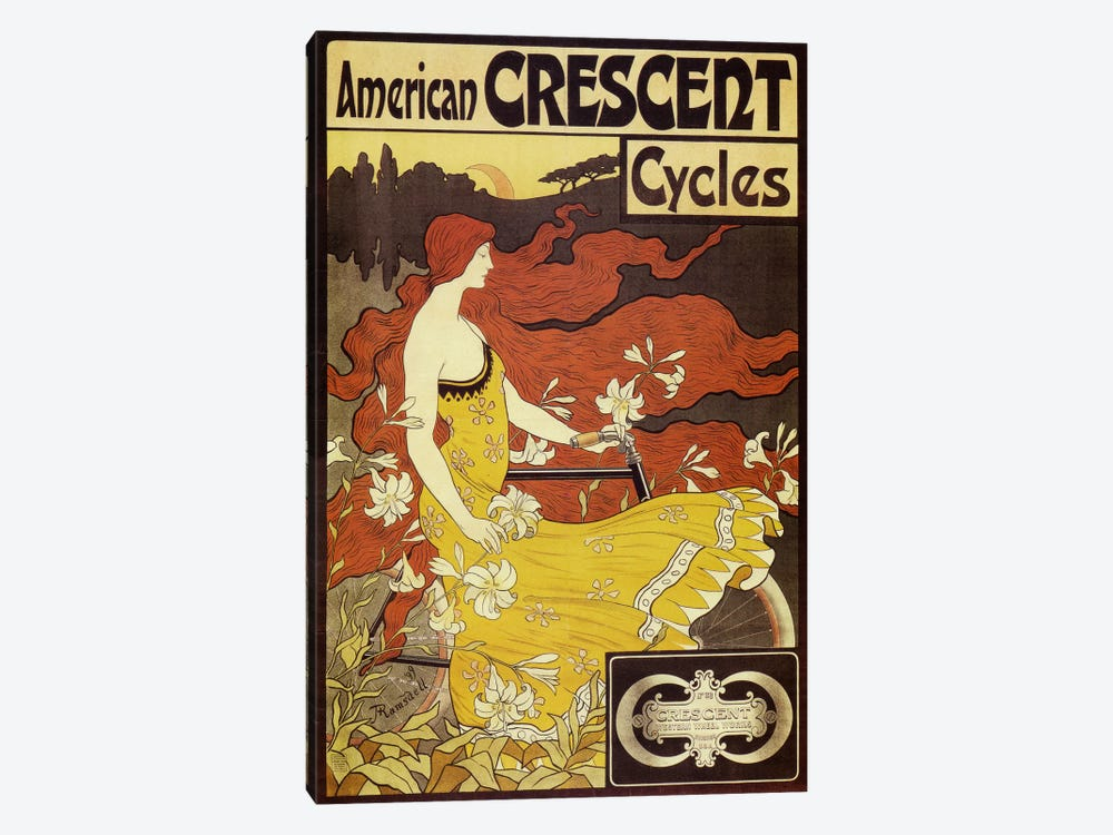 American Crescent Bicycles Vintage Poster by Fred Ramsdell 1-piece Canvas Art