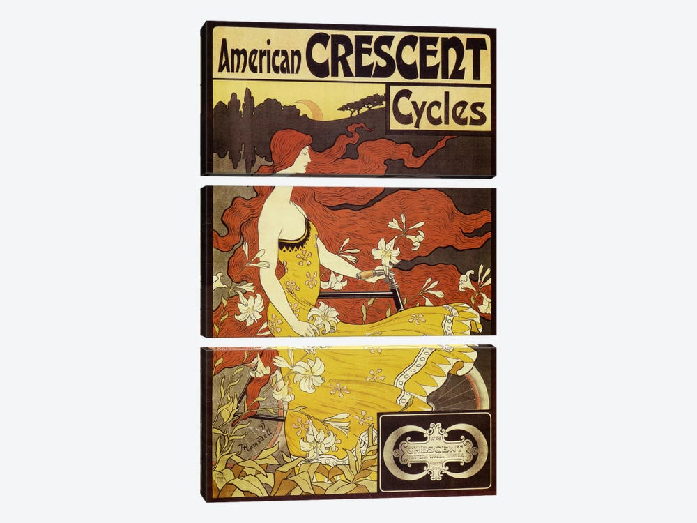American Crescent Bicycles Vintage Poster by Fred Ramsdell 3-piece Canvas Artwork