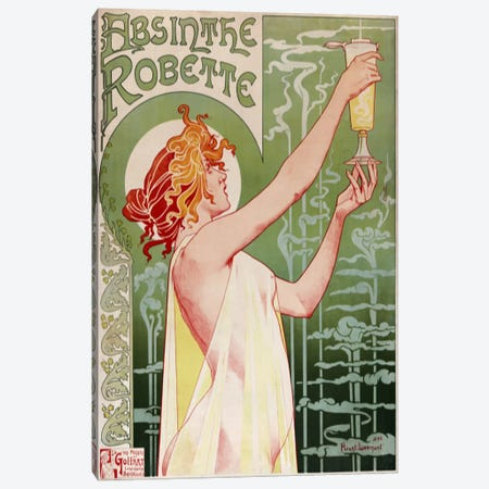 Absinthe Robette Vintage Poster Canvas Print #5034} by Henri Privat-Livemont Canvas Print