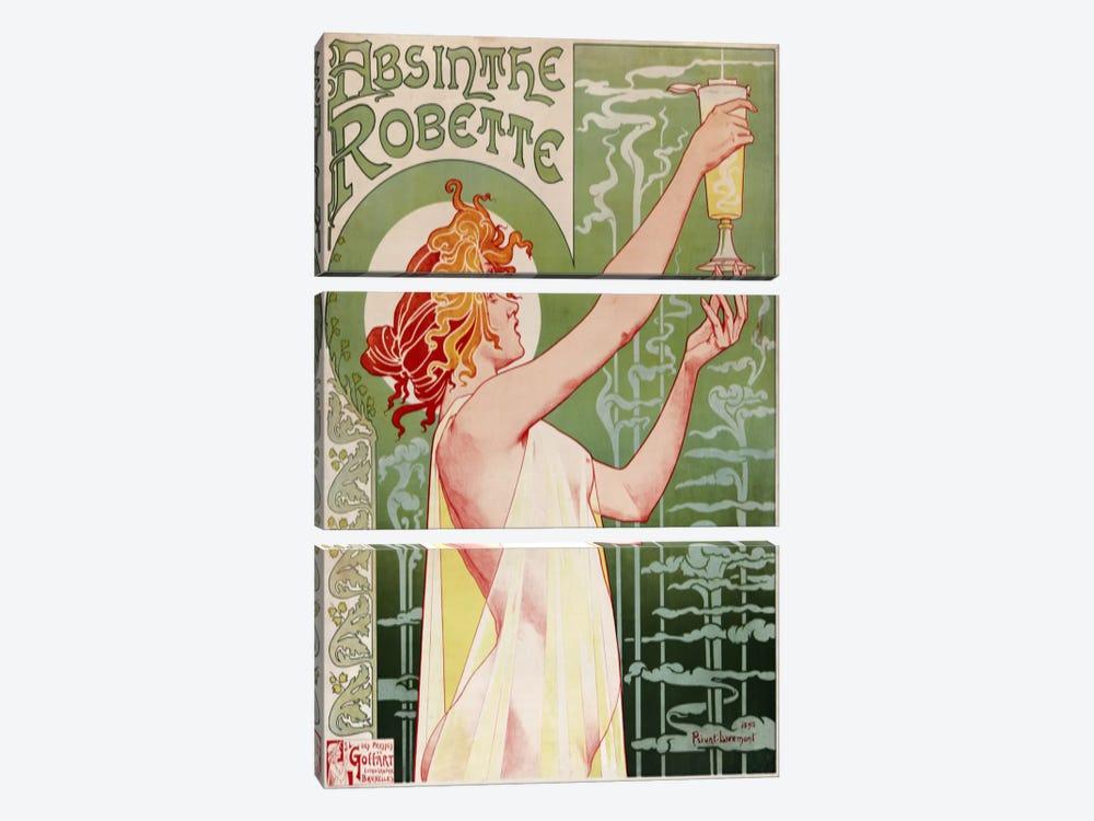 Absinthe Robette Vintage Poster by Henri Privat-Livemont 3-piece Canvas Print