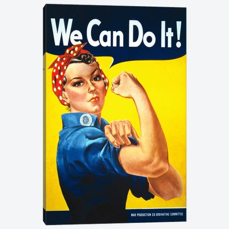 We Can Do It! (Rosie The Riveter) Poster Canvas Print #5035} by J. Howard Miller Canvas Art Print