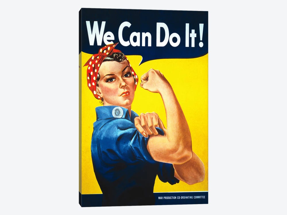 We Can Do It! (Rosie The Riveter) Poster by J. Howard Miller 1-piece Canvas Wall Art