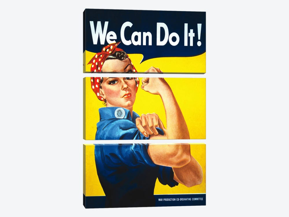 We Can Do It! (Rosie The Riveter) Poster by J. Howard Miller 3-piece Canvas Artwork