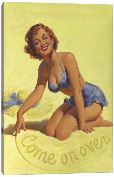 Come on Over Beach Pinup Girl Vintage Poster Canvas Art Print