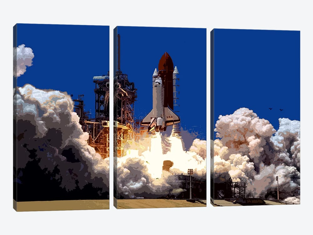 Into Outer Space by Unknown Artist 3-piece Canvas Wall Art