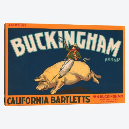 Buckingham California Bartletts Label Vintage Poster Canvas Print #5049} by Unknown Artist Art Print