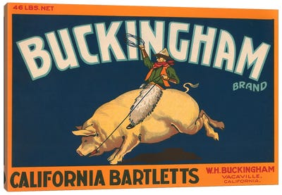 Buckingham California Bartletts Label Vintage Poster Canvas Art Print