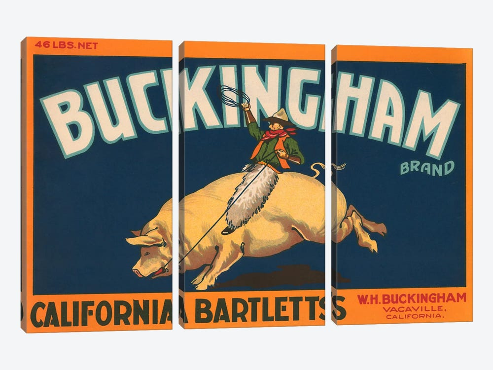 Buckingham California Bartletts Label Vintage Poster 3-piece Canvas Art Print