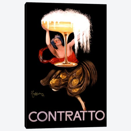 Contratto Champagne Vintage Advertisement Canvas Print #5050} by Leonetto Cappiello Canvas Art