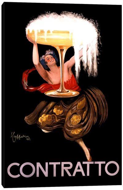 Contratto Champagne Vintage Advertisement Canvas Art Print