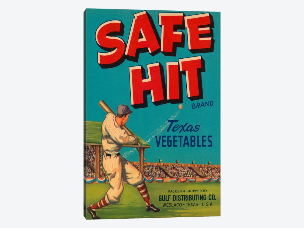 Safe Hit Brand Texas Vegetables Label Vintage Poster by Unknown Artist 1-piece Canvas Wall Art