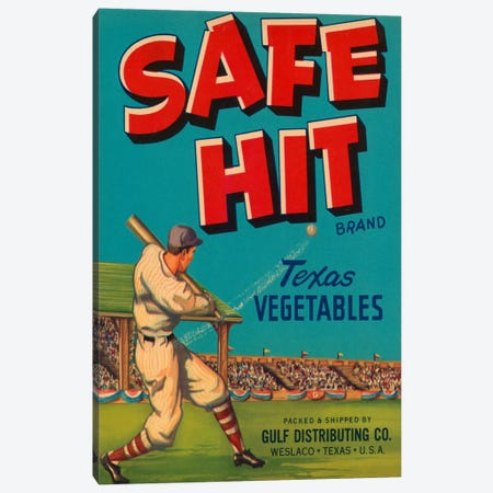 Safe Hit Brand Texas Vegetables Label Vintage Poster Canvas Print #5051} by Unknown Artist Canvas Wall Art